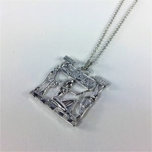 Egyptian Theme Silver Tone Necklace and Pendant
